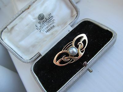 Stunning Arts Crafts Murrle Bennet Blister Pesarl 9Ct Gold Brooch Fitted Box
