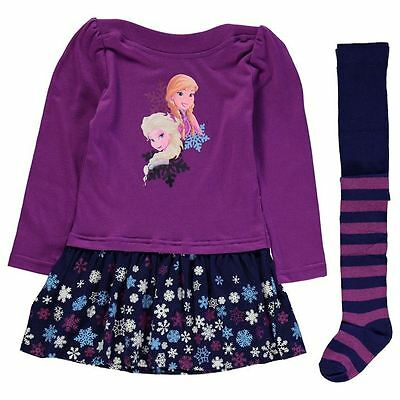 Frozen Princess Sisters Girls Dress & Tights Outfit/set 3-12 Years