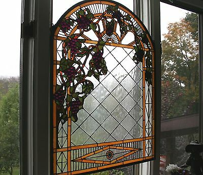 "STAINED GLASS WINDOW  30""L x  22""W   STUNNING GRAPE ARBOR"