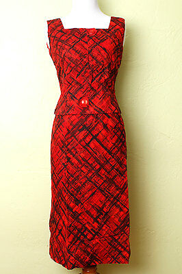 1950s 50s Wiggle Dress Two Piece Set Red Black Atomic Print Skirt Blouse Vintage