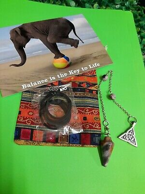 Snowflake Obsidian Pendulum Crystal Gemstone Necklace + Extras & Booklet Wicca