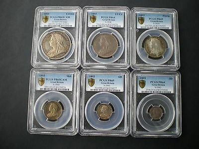 Victoria 1893 Six Coin Silver Proof Set Crown-Threepence PCGS PR63CAM to 65CAM