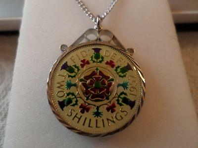 Vintage Enamelled Two Shilling Coin 1957 Pendant & Necklace. 60Th Birthday Gift