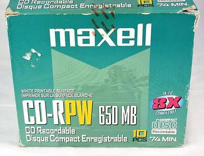 Maxell CD RPW 650 MB 1X to 8X  Printable Surface 10 Pack 74 Min # 623510 Sealed