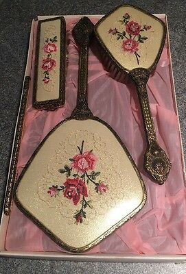 Vintage 4 Piece petit point vanity dressing table set - Embroidered lace Gilt