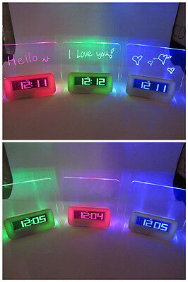 Message Board Clock With Back LED Light Display Calendar, Time & Temperature