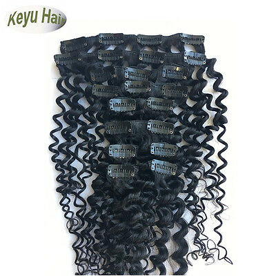 Full Head Deep Wave Deep Curly Clip In Human Hair Weft Hair Extensions 120g