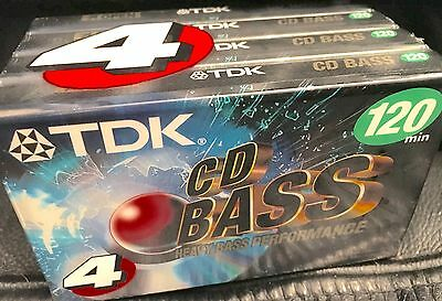 TDK CD Bass 120 Minute Blank Cassette Tapes BAS-120 NEW SEALED 4 Pack