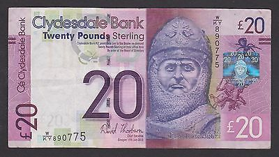 Clydesdale Bank ==20 Pounds Banknote - Robert The Bruce == 11/07/2013 == Ef