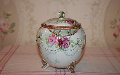Antique Nippon Biscuit Jar Hand Painted Roses Raised Relief Flower Moriage 1891
