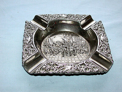 Ornate Antique Repousse' Silverplate Ashtray with Rembrandt Scene