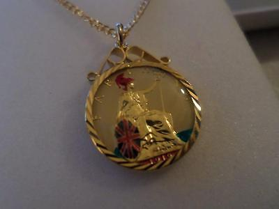 Vintage Hand Painted & Enamelled Farthing Coin 1910 Pendant & Necklace