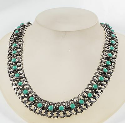 Vtg Sterling Turquoise Necklace Collar CURB LINK Mexico