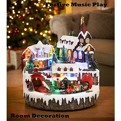 New Design Light up Village Christmas Scene Church & Train Animated Ornament