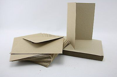 Pack of 50 Blank Natural Kraft Recycled Cards and Envelopes 280 gsm