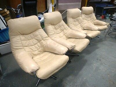 4 Retro Vintage Danish/Stressless style Skoghaug Leather Reclining Swivel Chairs