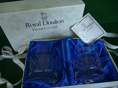 Royal Doulton Crystal Cut Tumbler Glasses - Manchester Airport T2 Opened 1993