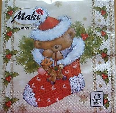 4 x Christmas Paper Napkins - Christmas Bear - Ideal for Decoupage [1660847]