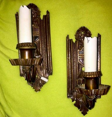 Vintage Pair Arts & Crafts Medieval Castle S&A Bronze Brass Wall Light SCONCES