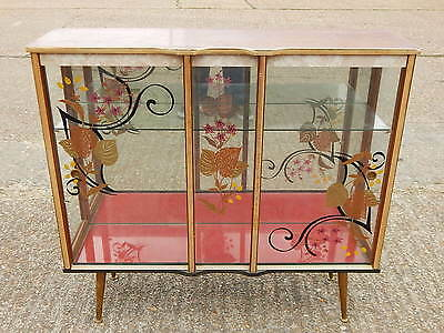 Vintage mid century glazed china display cabinet with painted decoration 1950/60