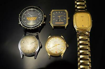 (k) 5 WATCHES FOR PARTS OR REPAIR, FOSSIL, PULSAR, GENOVA, SEIKO, & TIMEX