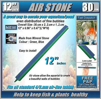 AIRSTONE Length 12'inch (30.cm): FOR AIR BUBBLES IN AQUARIUM, POND: NEW