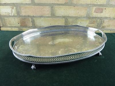 """Vintage Two Handled 18"""" Gallery tray on Claw feet silver plated Georgian style"""