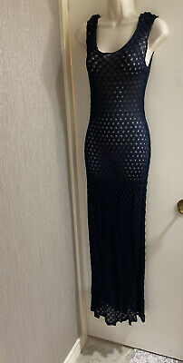 Navy Blue Crochet Maxi Dress Resort Cover Up No Tag size Small