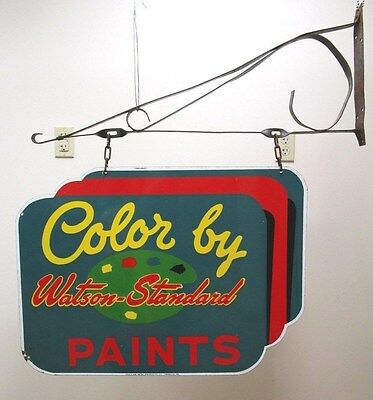 Vintage Watson Standard Paints Double Sided Porcelain Paint Sign w/ Hanger