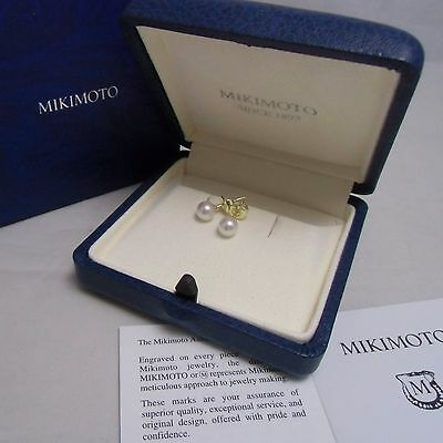Mikimoto Pearl 18K Yellow Gold  Stud Earrings 6.0MM Highest Grade Authentic!