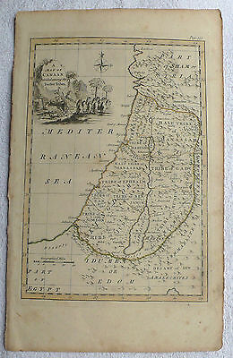 A Map of CANAAN Divided Among The Twelve Tribes, Antique Original (18th century)