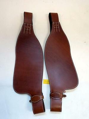 Tan Smooth leather Replacement fenders ONLY for Western Adult saddle SHOWMAN