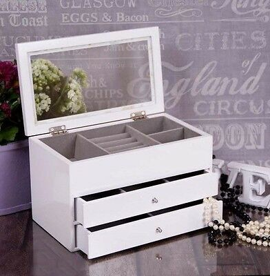 Large White Wooden Jewellery Box Glass Lid Storage 2 Drawers Christmas Gift NEW