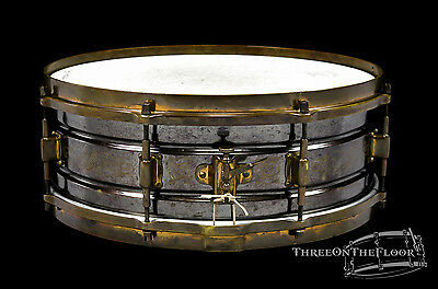 1920s Leedy Black Elite Snare Drum 5x14 : Engraved Vintage Rare Knobby Gold