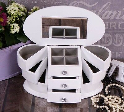 Large White Wooden Jewellery Box Display mirror Gift Jewelery Christmas Present