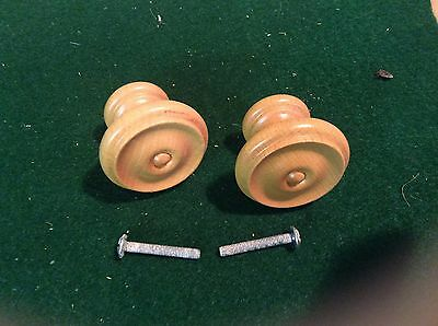 6 X 45mm LIGHT  WOODEN CUPBOARD KNOBS