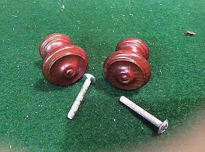6 X 30mm DARK WOODEN CUPBOARD KNOBS