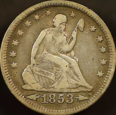 1853 Seated Quarter w/Arrows and Rays Very Fine