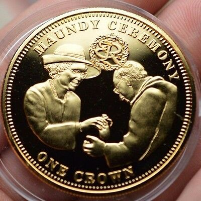 2011 Maundy Ceremony Elizabeth Ii Proof Crown Tdc 22Ct Gold Plated British