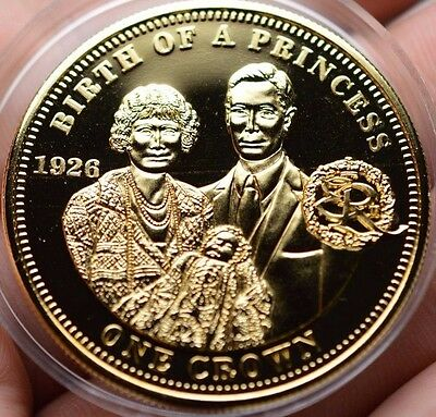 2010 Birth Of A Princess Elizabeth Ii Proof Crown Tdc 22Ct Gold Plated Coin