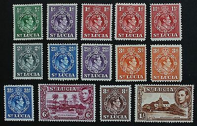 ST LUCIA - SG128-135 1/2d to 1/- King George VI 1938-48. Mounted Mint MM.