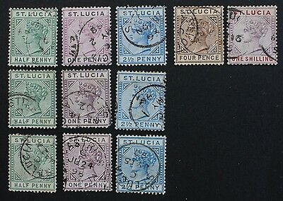 ST LUCIA - SG43-44,46,48,50 Queen Victoria 1891-98. 11 Used.