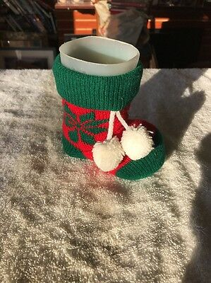 Knit Christmas Sock With Plastic Structure New