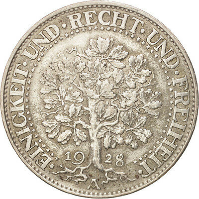 [#480181] GERMANY, WEIMAR REPUBLIC, 5 Reichsmark, 1928, Berlin, Silver,...