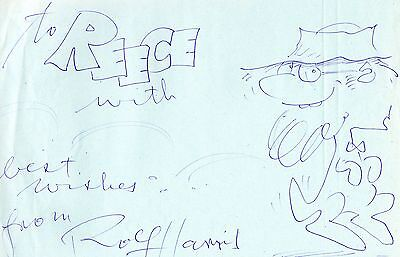 Authentic Rolf Harris Signed 12 X 8 Drawing.......real Signature.........