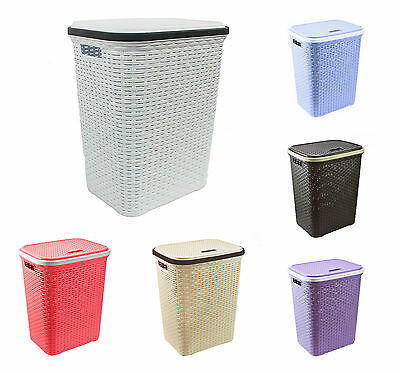 56L Large Rattan Plastic Laundry Bin Washing Clothes Linen Storage Basket New