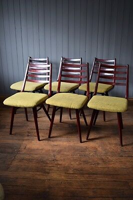 Vintage Set of 6 Mid Century Wood Dining Chairs - Green Fabric CAN DELIVER