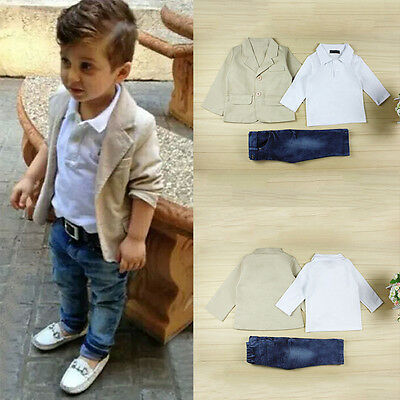 3pcs Toddler Kid Baby Boy Gentleman Coat+Shirt+Denim Pants Clothes Outfits Sets