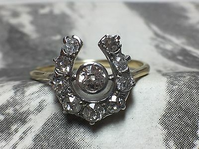 Beautiful Antique Victorian 18Ct Gold Diamond Lucky Horseshoe Ring 0.65Ct