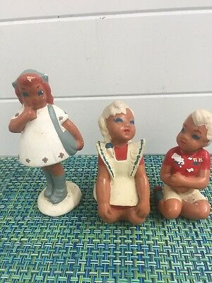 3 Rare 1940's Figurines Barnware  Made in Hollywood California Pottery Woman